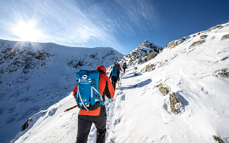 Group winter skills course in the Lake District mountains