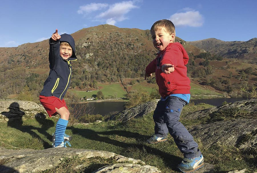 Children on the summit of a Lake District fell