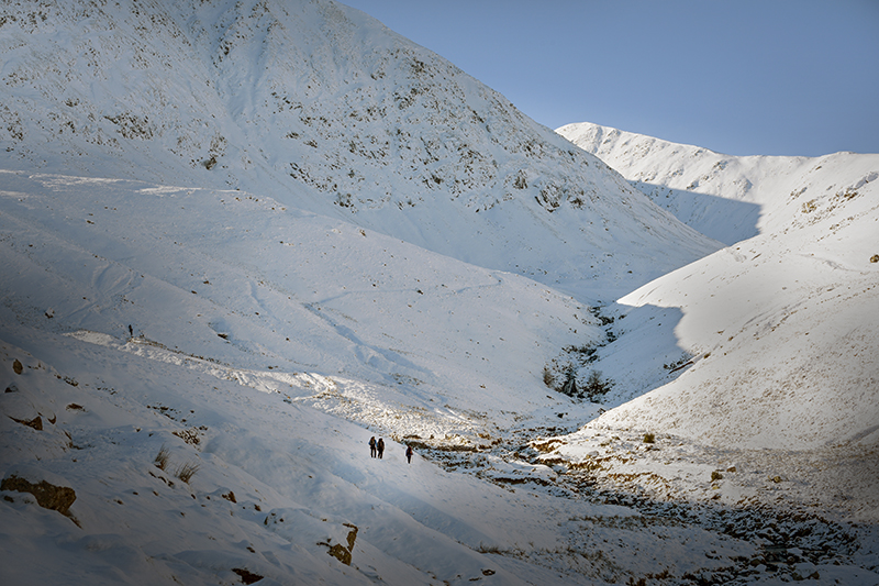 Two people walking up a hill in the snow