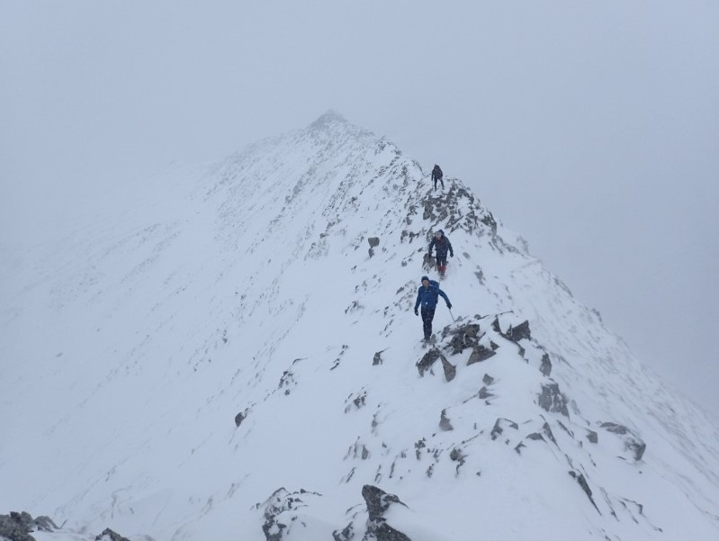 Winter Skills course on a snowy Helvellyn.