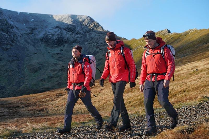 The 3 Fell Top Assessors walking on Helvellyn fellside